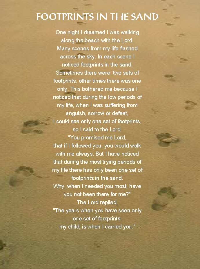 Morning Devotional Footprints In The Sand Real Meaning Reverend